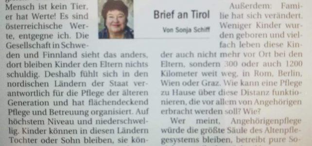 Brief an Tirol: Angehörigenpflege.