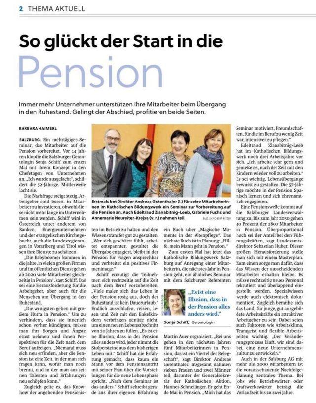 Zeitungsbericht über meine Pensionsvorbereitungs-Seminare